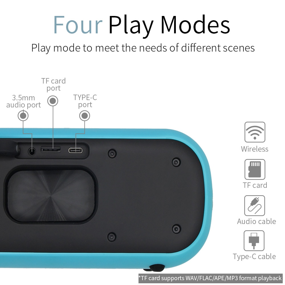 YOUXIU Portable Wireless Bluetooth Speaker 40W TWS Column Bass Stereo Sound Bar Built -in Subwoofers Support Phone PC Laptop TV enlarge