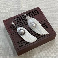 freshwater shell natural pendant feather shaped diamond applicable for making exquisite necklace jewelry accessories wholesale