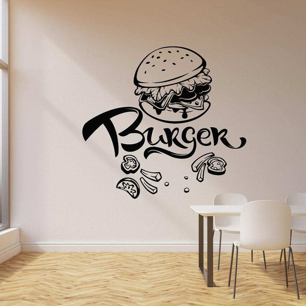 Burger Wall Decal Fast Food Cafe Restaurant Dining Room Decor Vinyl Nursery Kids Room Interior Wall Sticker Home Decoration Z184