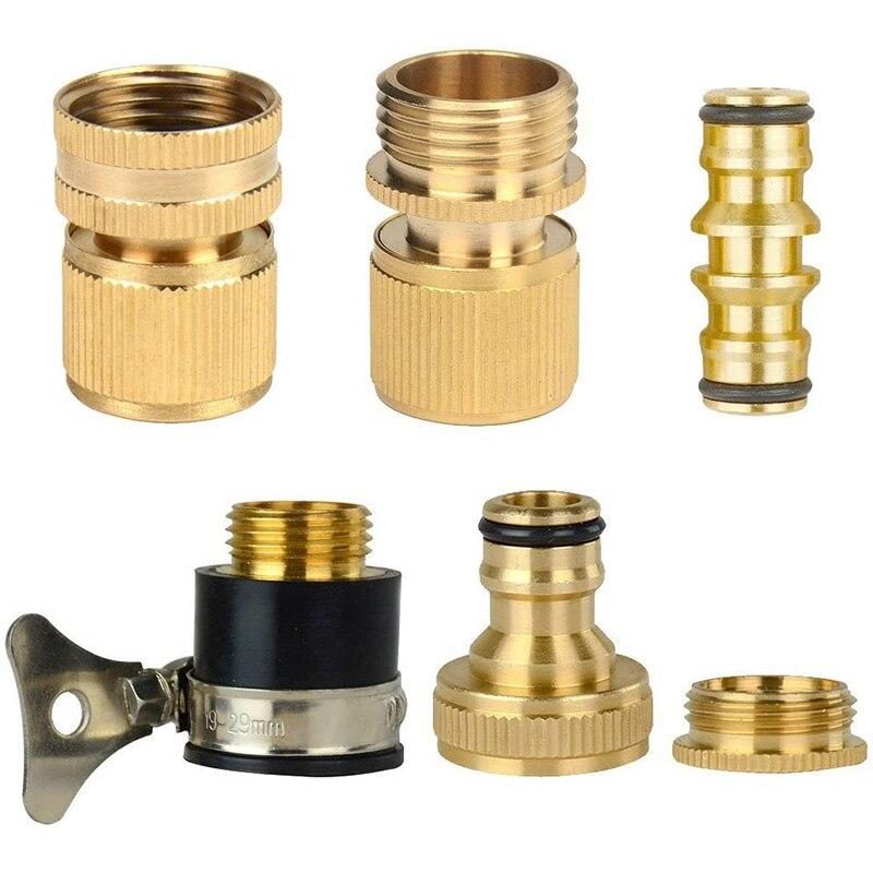 1 Juego de conectores adaptadores expansibles de latón para manguera de jardín (6 unidades)