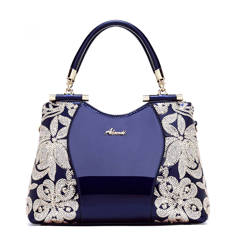 Patent Leather Women Handbags Sequin Embroidery Luxury Shoulder Crossbody Bag Famous Brand Designer Female Fashion Messenger Bag