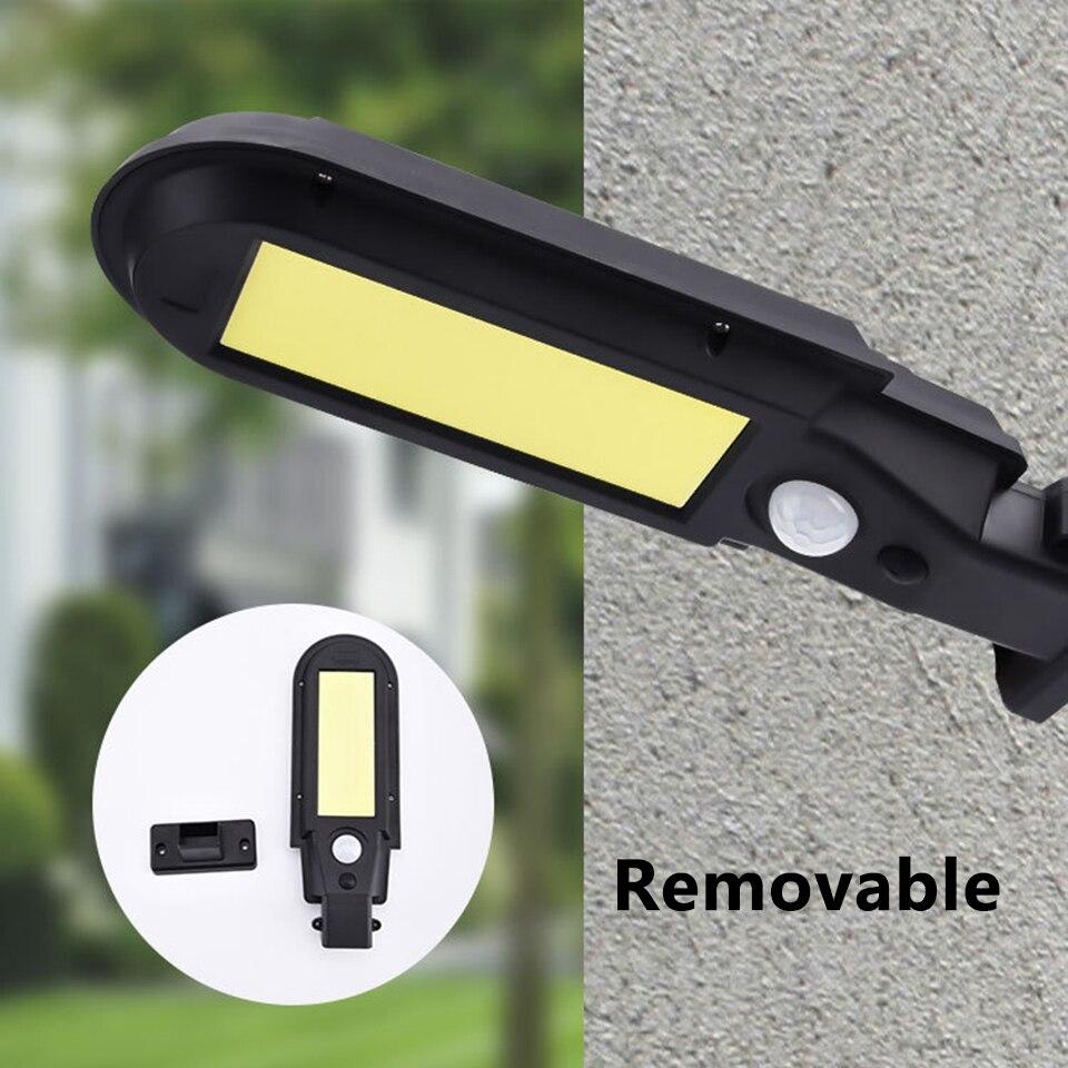 Luz solar lâmpada de rua sensor de movimento construído em longa vida útil da bateria ao ar livre alimentado luz solar à prova dwaterproof água lâmpadas led bateria de lítio