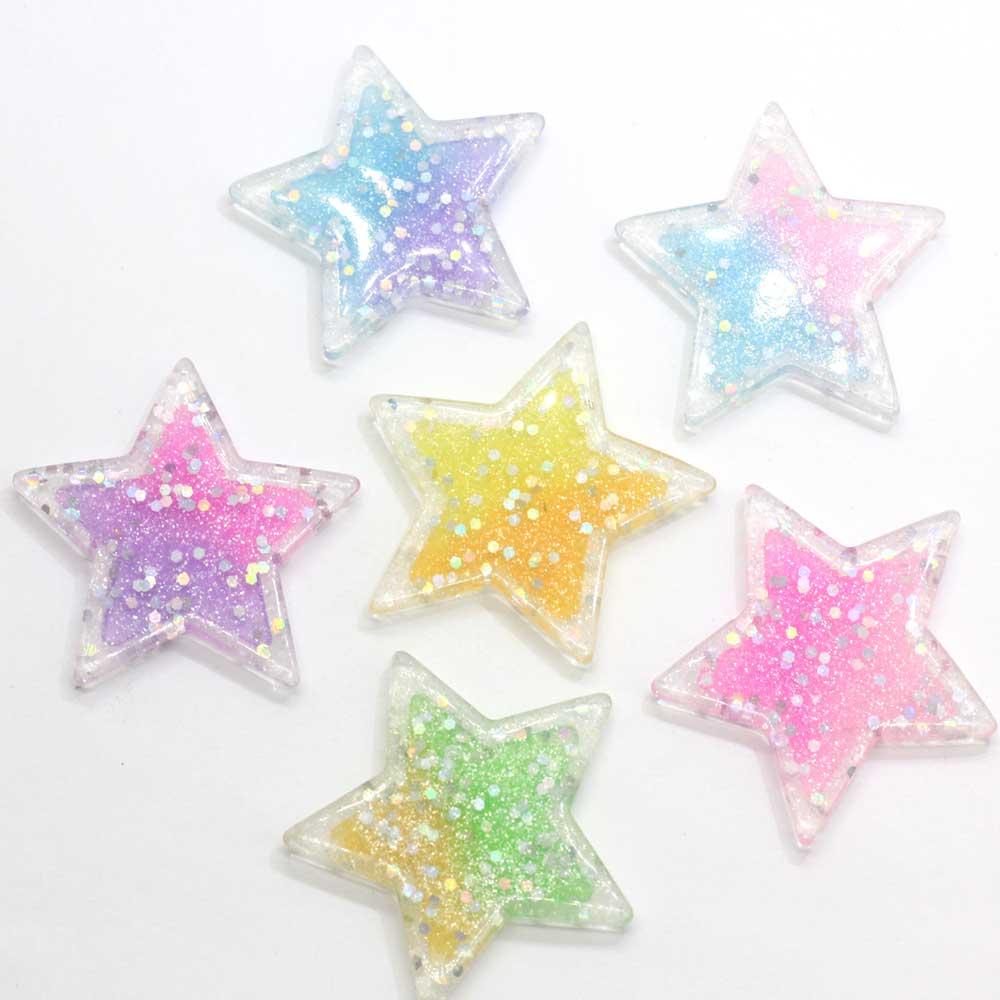 10/100 Uds gradiente plana estrella cabujón 41mm Mini brillo estrellas Flatback suministros para manualidades DIY niños pelo accesorios de Pin orna