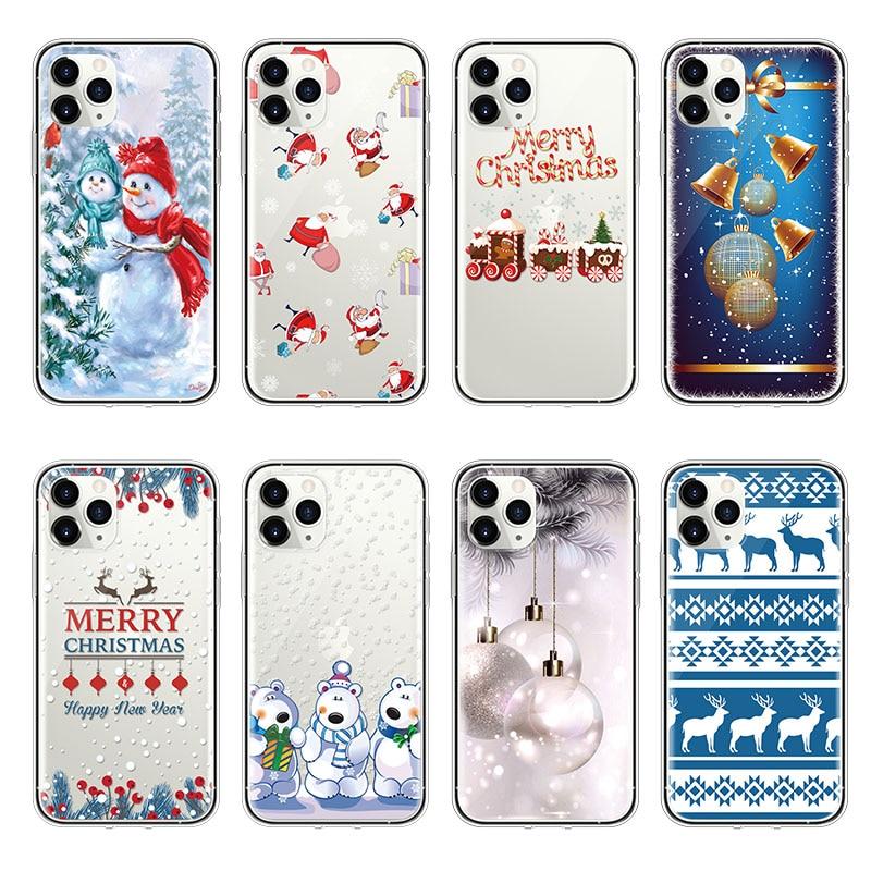 Funda de teléfono para iphone 11 Pro X XS Max 6 6S Plus funda para iphone 7 8 Plus 5 5S 5E 5C 4 4S funda de silicona suave de TPU Feliz Año Nuevo