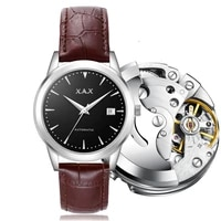 mens mechanical watch genuine high grade white collar watch mechanical automatic movement couple gift automatic creative