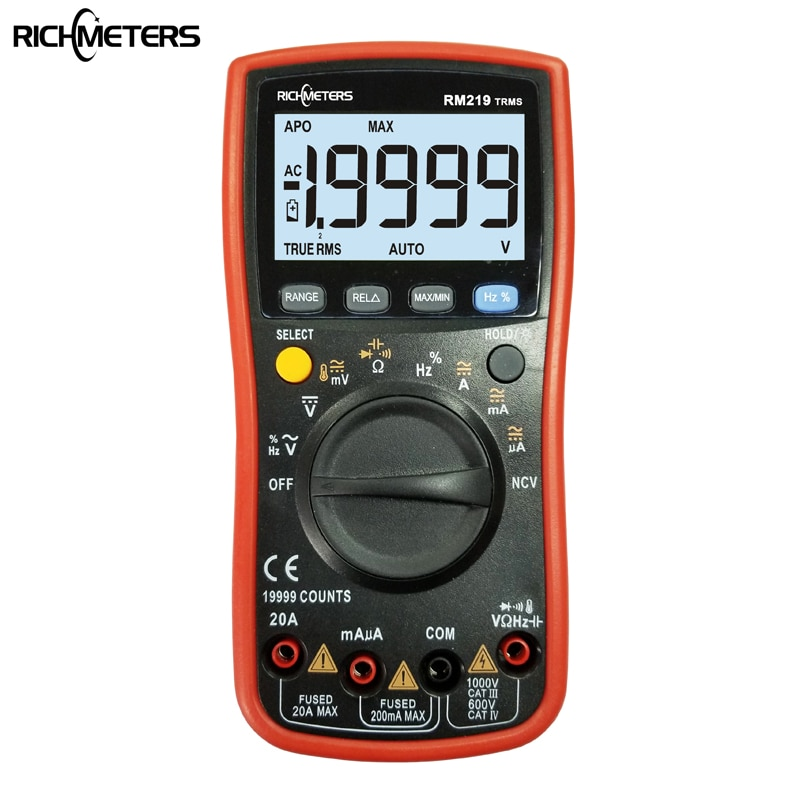 RM219 True-RMS 19999 التهم الرقمية متعددة NCV تردد السيارات خارج التيار المتناوب تيار مستمر الجهد مقياس التيار الكهربائي الحالي أوم