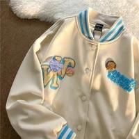 korean chic streetwear embroidery women jackets vintage harajuku ulzzang oversize jacket japanese preppy style female coats