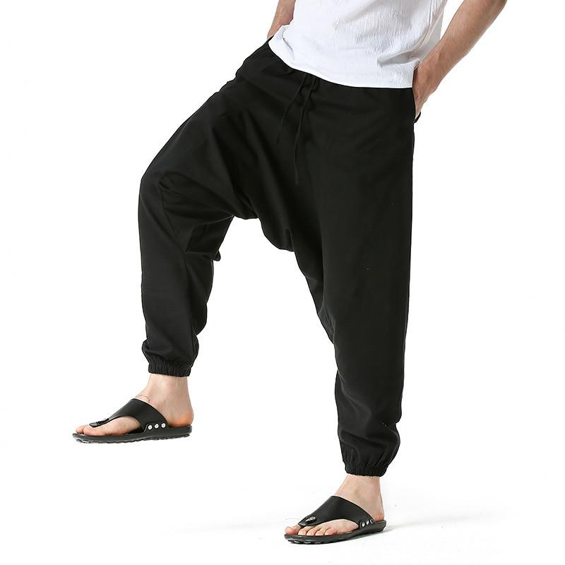 LUCLESAM мужские шаровары, мужские хлопковые, льняные, Непальские мешковатые брюки с заниженной мотней, джоггеры, спортивные брюки, мужские брю...