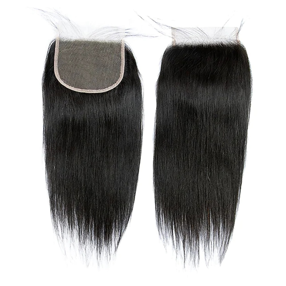 12 inch 4x4 Closure Straight Free Part Middle Part / Side Part Korean Lace Remy Human Hair Women's Lace Closure