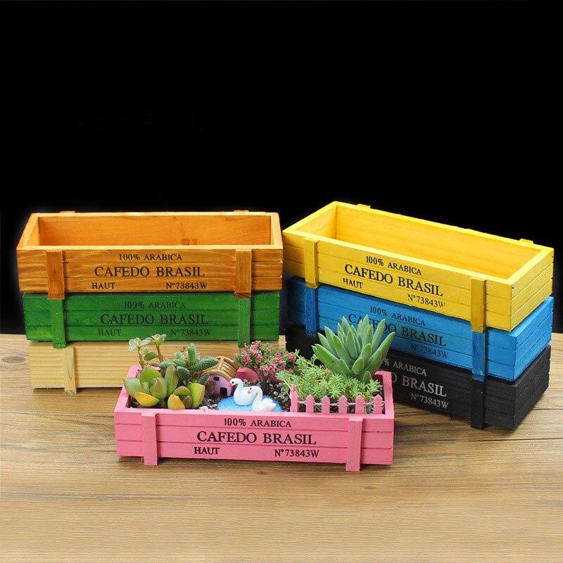 Rosa azul verde maceta para planta de jardín decorativo Vintage suculentas cajas de madera cajas de mesa rectangular flor olla jardinería dispositivo