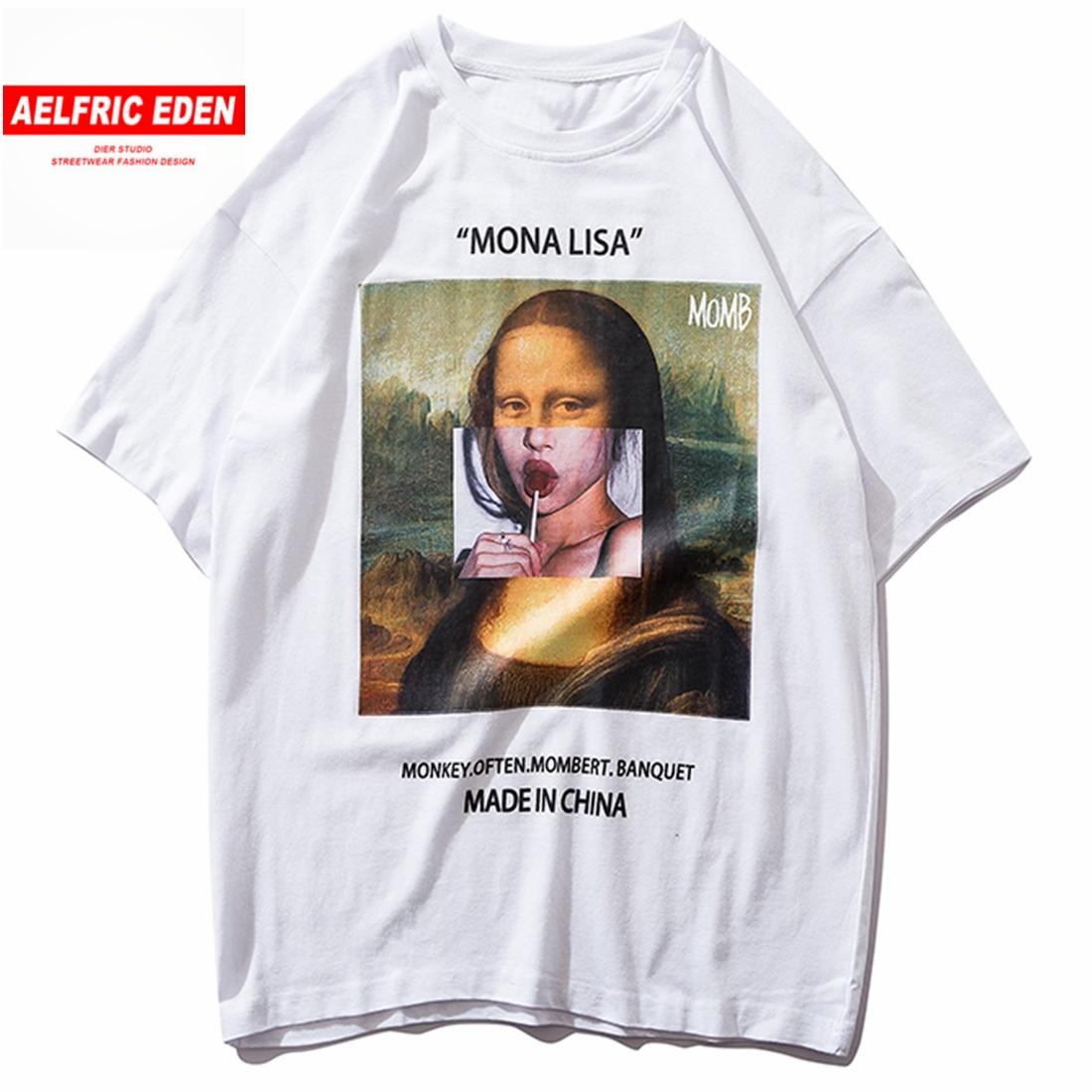 Aelfric eden engraçado mona lisa hip hop t camisa masculina de algodão moda streetwear harajuku tshirt manga curta topos tees hipster swag