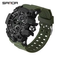 2021 SANDA спортивные военные мужские часы, водонепроницаемые кварцевые наручные часы с двойным дисплеем для мужчин, часы с секундомером, мужск...