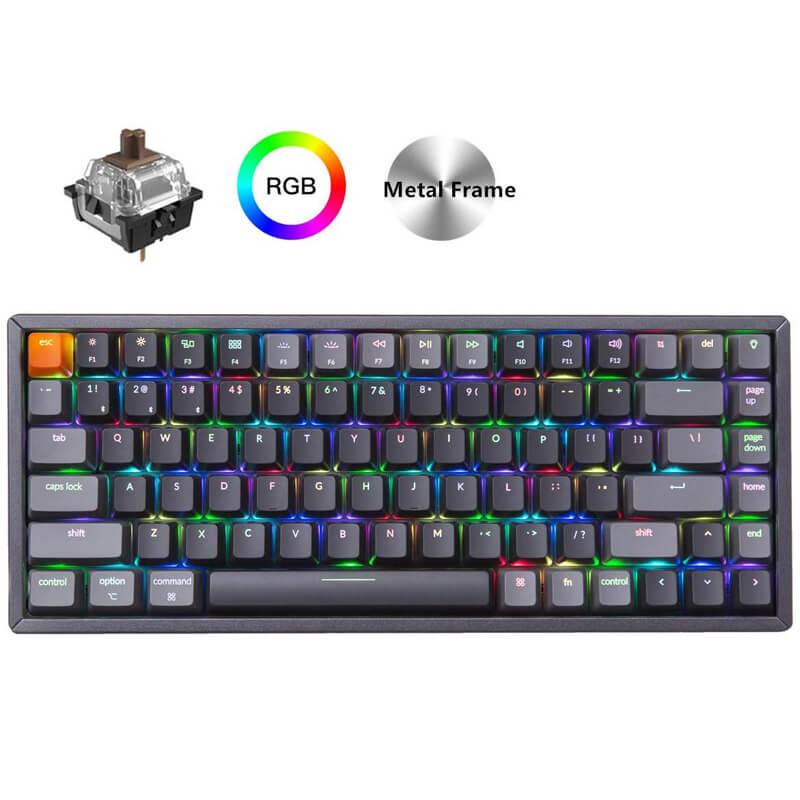 Keychron K2 C V1 بلوتوث اللاسلكية USB لوحة المفاتيح الميكانيكية الألومنيوم الإطار ، المدمجة 84 مفاتيح RGB الخلفية N-مفتاح التمديد