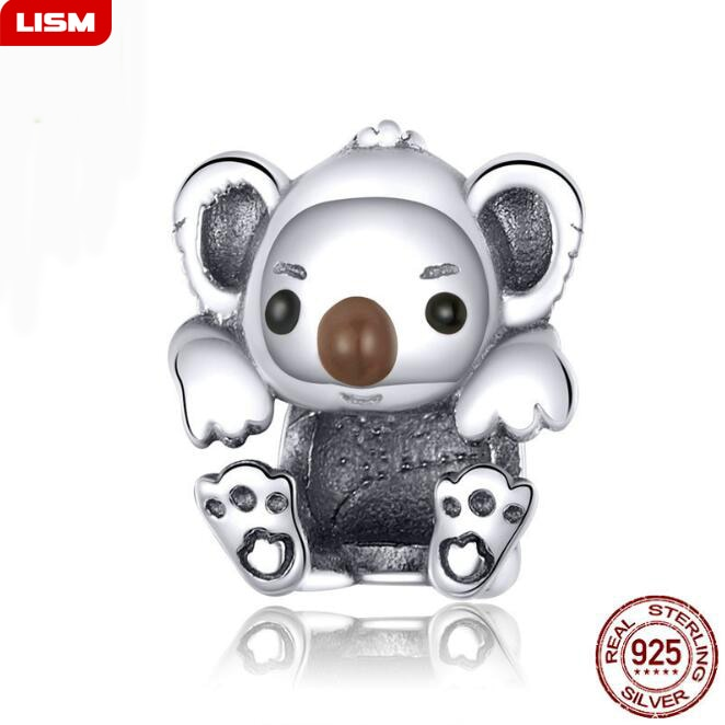Baby Koala Metall Perlen für Frauen Schmuck Machen 925 Sterling Silber Tier Charme fit Armband & Bangle Schmuck