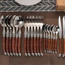 24 pièces Laguiole Steak couteaux ensemble de dîner en acier inoxydable japonais couverts manche en bois ensemble de vaisselle japon vaisselle couverts cadeau