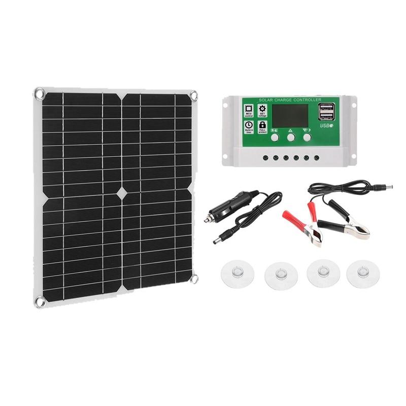 12 واط لوحة طاقة شمسية مزدوجة USB الشمس الطاقة الخلايا الشمسية البنك حزمة 100A تحكم IP65 مقاوم للماء للتخييم في الهواء الطلق المشي لمسافات طويلة