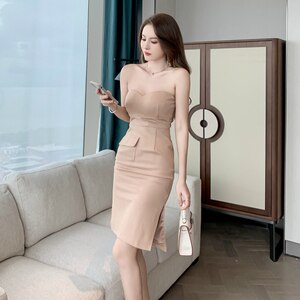 Sheer 2021 New Year Christmas Dress Women Split Strapless Off Shoulder Backless Sexy Dresses Ladies Corset Bodycon Dress Woman