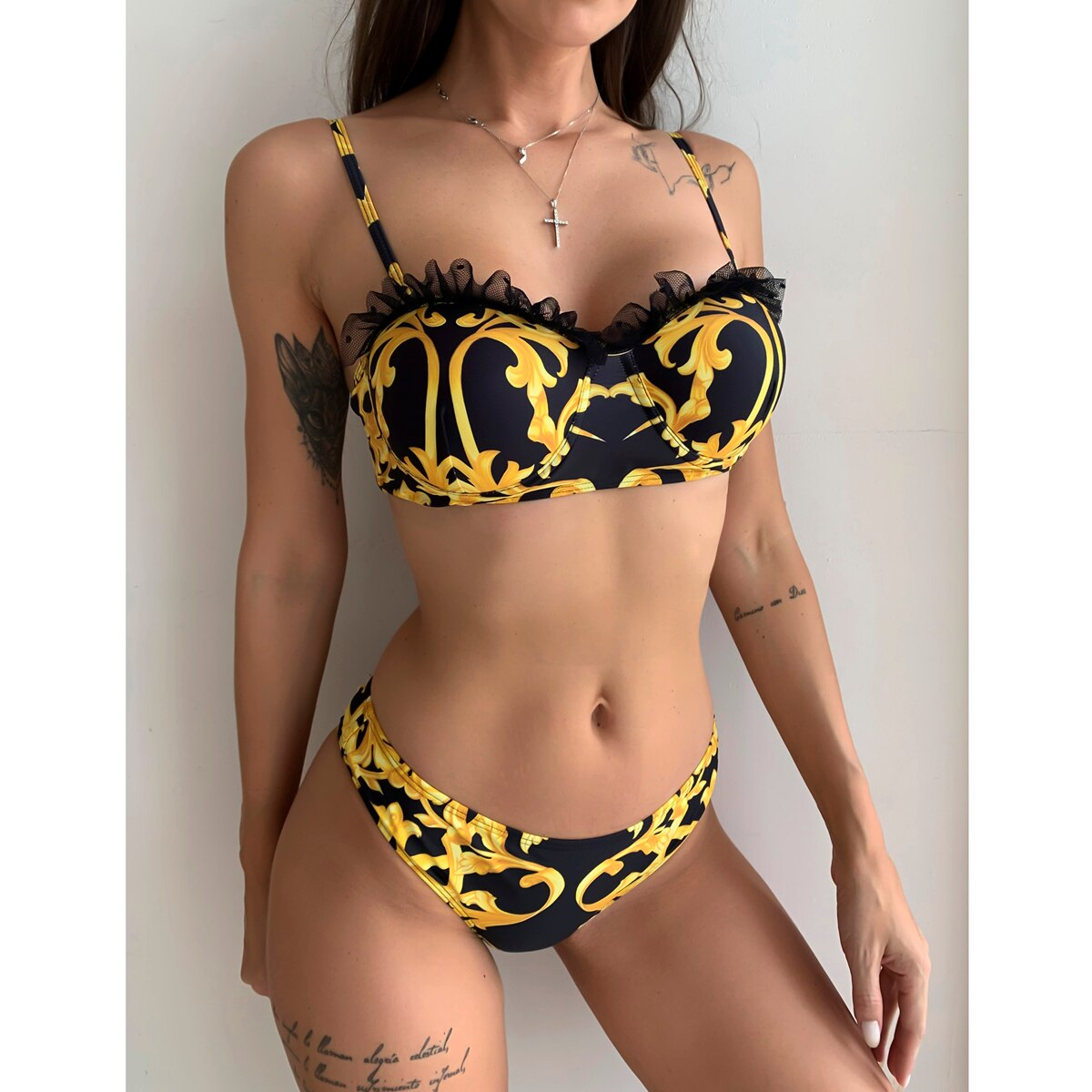 triangle print bikinis women swimwear string bandage swimsuit push up bathing suit new sexy thong bikini set Push Up Bikinis 2020 Sexy Women Swimsuit Swimwear Female Lace Print Thong Brazilian Bikini Set Biquini Bathing Suit Women