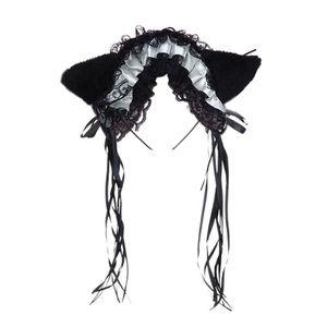 Women Ruffles Lace Headband Plush Cat Ears Ribbon Bell Lolita Cosplay Hair Hoop 23GE