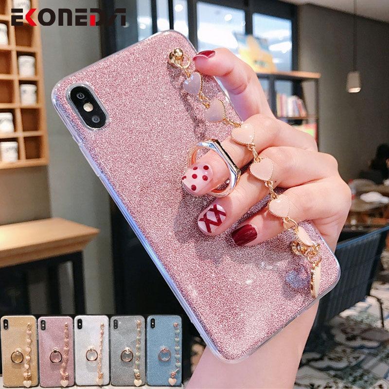 Funda de lujo con purpurina de cadena para la muñeca EKONEDA para iPhone 11 Pro X XR XS Max 6S 7 8 Plus SE 2020