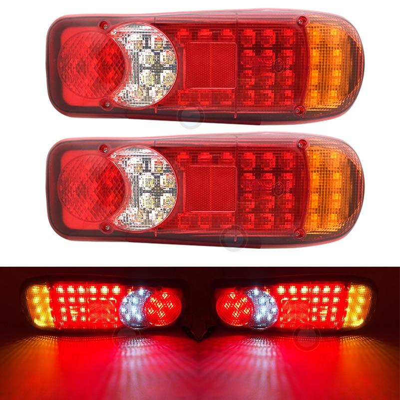 2 pces 46led novo caminhão de reboque do carro luz traseira da cauda freio reversa parada da lâmpada sinal de volta para caravanas de caminhão de reboque luzes traseiras.