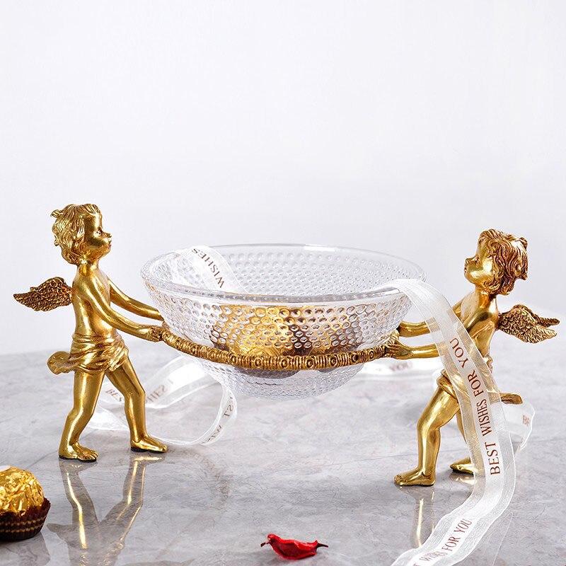 Luxo ouro bronze dois anjo elf meninos segurando pratos estátua casa placa de frutas vidro sala estar decoração prato frutas tigela prato doces