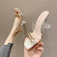 Summer Women's Slippers Women Sandals 6cm Heels Shoes Female Golden Metal Chain Ladies Slipper Fashi
