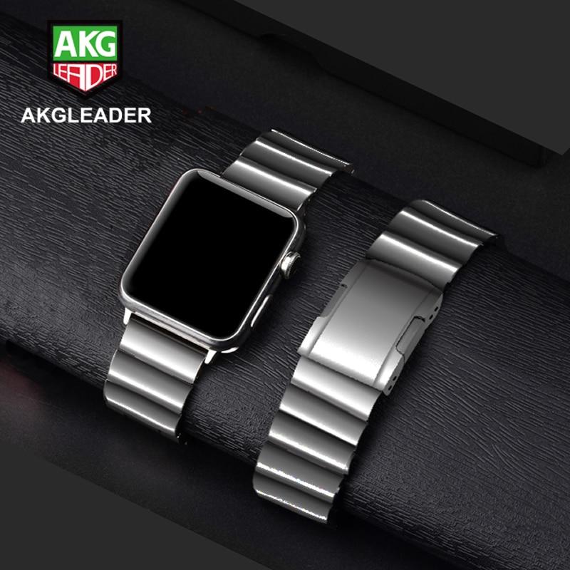 AKGLEADER-حزام فولاذي لساعة Apple Watch Series 5 4 iWatch ، معدن صلب ، حزام ساعة عالي الجودة لساعة Apple Watch 3 2