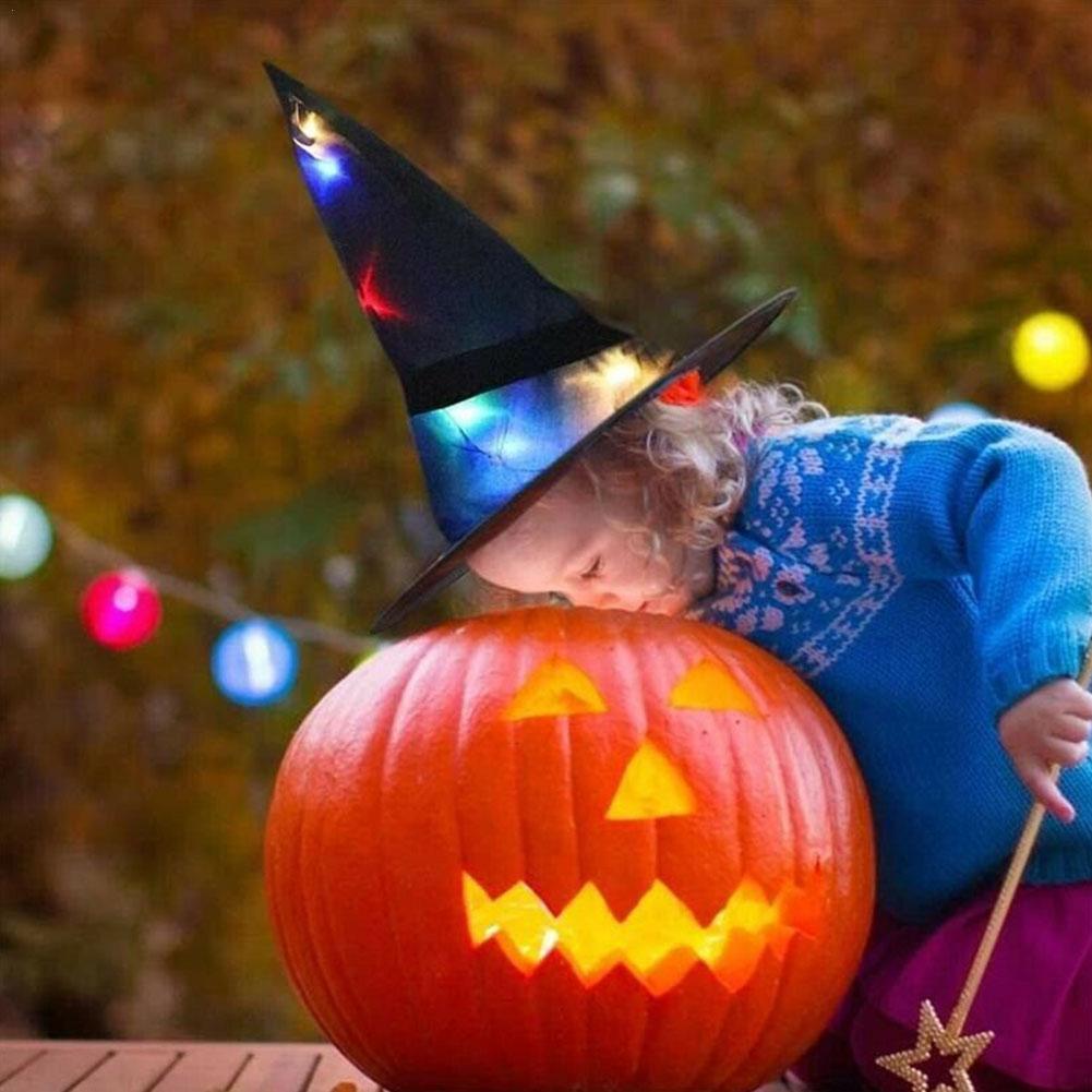 Украшение на Хэллоуин, шляпа ведьмы, реквизит для украшения детской вечерние, светящаяся шляпа ведьмы со светодиодом, волшебное уличное укр...