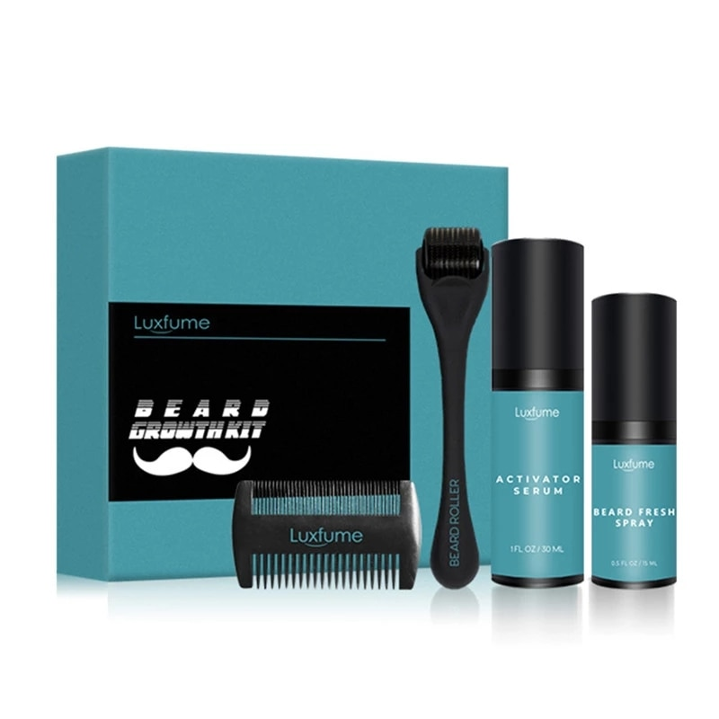 Growth Enhancer Care Kit Facial Beard Barbe Hair Beard Care Man Nourishing Essential Serum Growth Solution Disinfectant Spray
