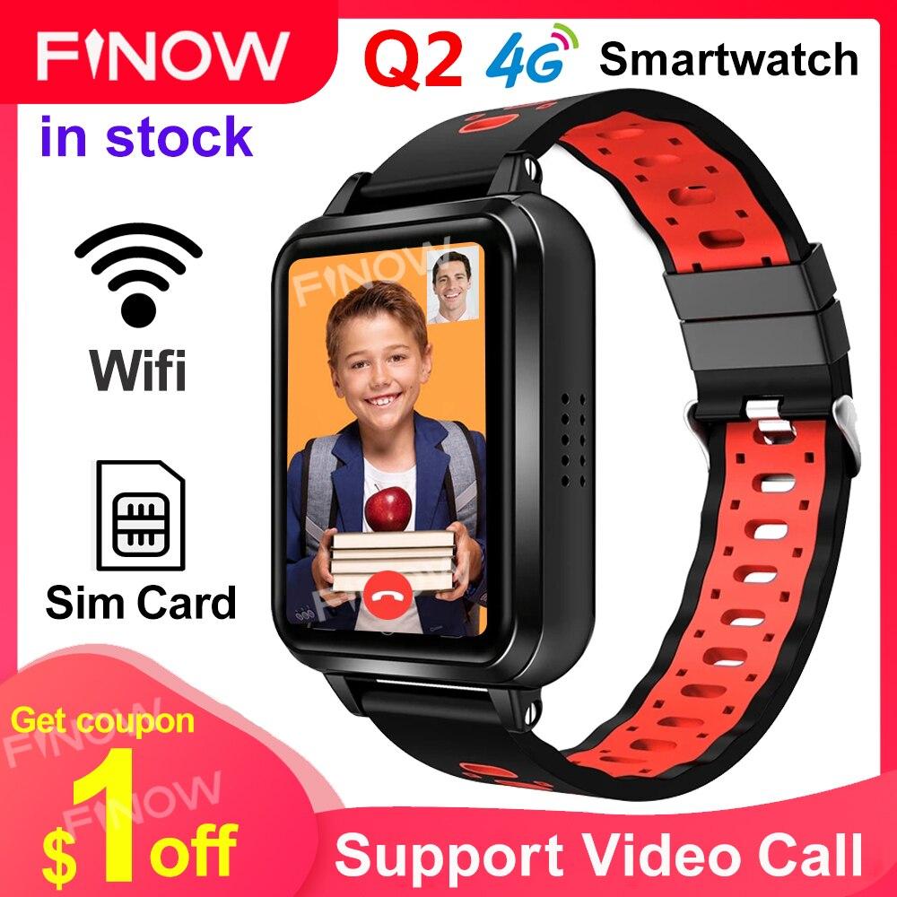 Finow-ساعة متصلة Q1 Pro للأطفال ، لهواتف Android و 4G و SOS ، مع بطاقة Sim ، ونظام تحديد المواقع العالمي ، وواي فاي ، وكاميرا ، وتسجيل المكالمات والفيديو
