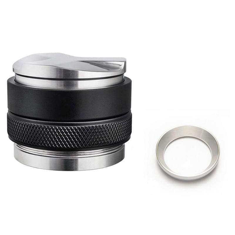 Mejor Tamper de café doble, anillo de café embudo anillo en polvo, prensa de café Espresso plata 58mm Tamper tienda de café suministros
