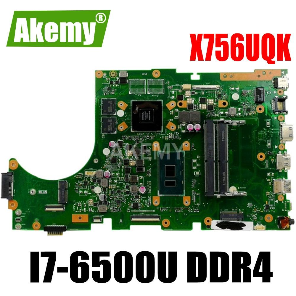 Para ASUS X756UW X756UQK X756UQ X756UR X756UWK X756UV X756UJ X756UXM placa base portátil I7-6500U DDR4 90NB0C30-R06000