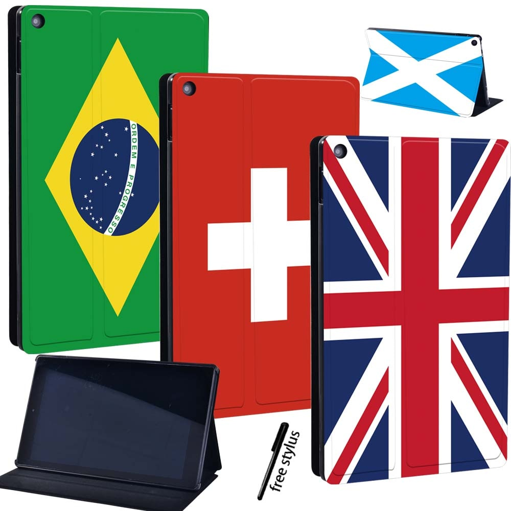 For Amazon Fire 7 (5/7/9th)/Fire HD 8(6/7/8th/10th)/Fire 10(5/7/9th) Drop Resistance Leather Case Protective Shell+Pen