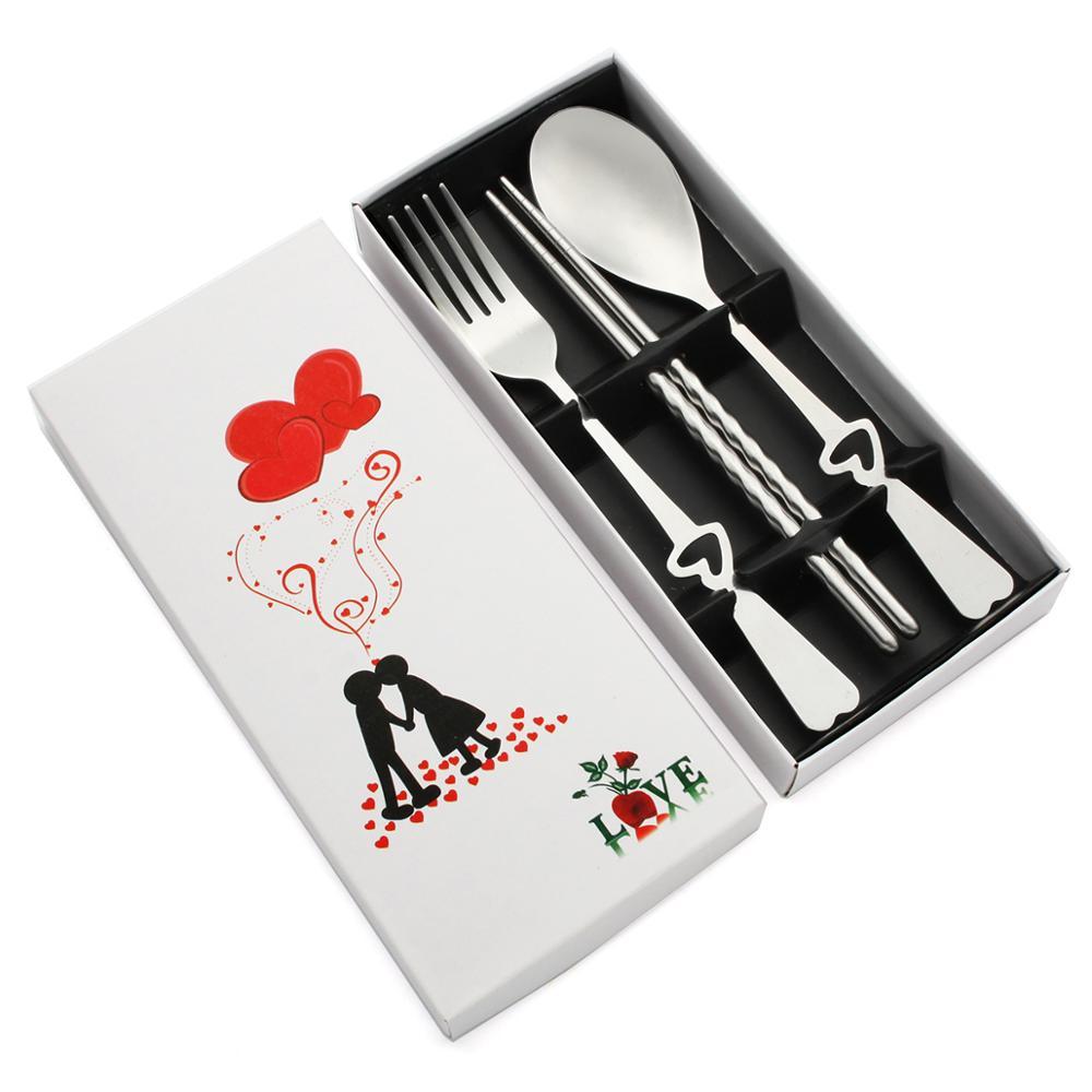 Juego de 100 regalo de fiesta personalizado para la boda cuchara de Metal plateado tenedor palillos cubiertos personalizado nupcial ducha Favor con caja
