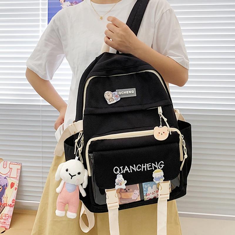 Простые нейлоновые рюкзаки для девочек-подростков, вместительные школьные ранцы в Корейском стиле для книг, Женский тканевый ранец