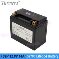 turmera 12 8v 14ah 32700 lifepo4 battery with lcd 4s 40a balance bms for 12v motorcycle and ups replace lead acid batteries use