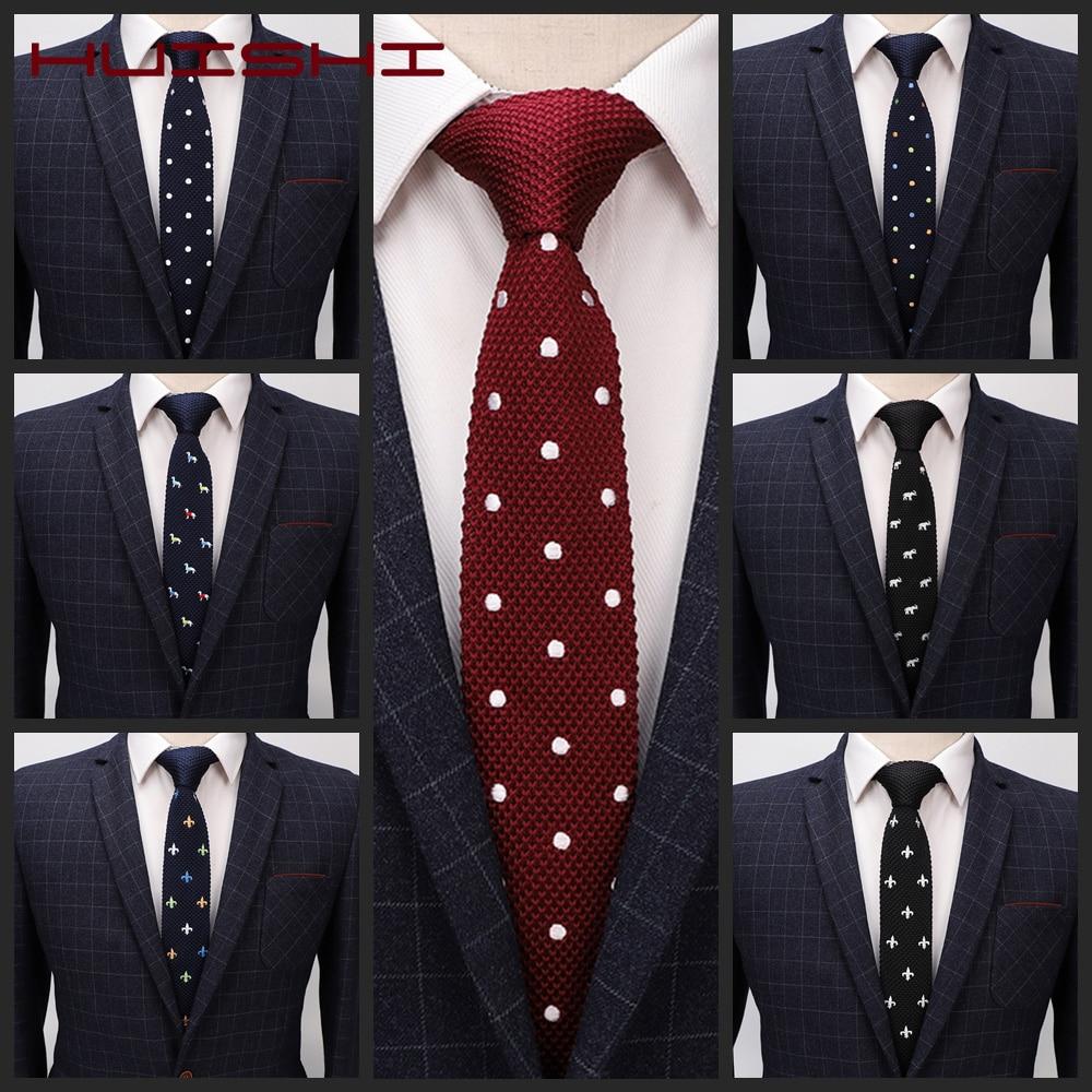 Мужские вязаные галстуки HUSHI, модные мужские Разноцветные Вязаные Галстуки, однотонные узкие тканые Узкие галстуки