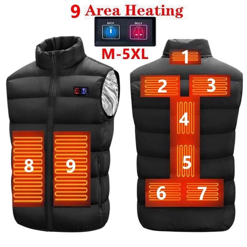 9 Heated Vest Zones Electric Heated Jackets Men Women Sportswear Heated Coat Graphene Heat Coat USB Heating Jacket For Camping