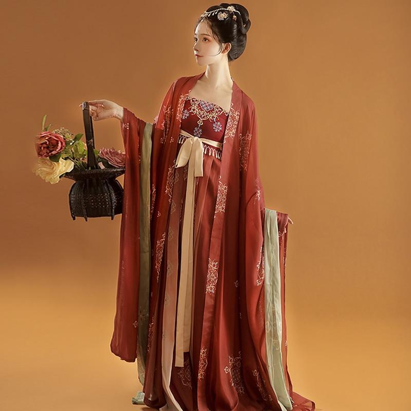 القديمة النساء فستان أنيق Hanfu الرجعية تانغ سلالة أزياء رقص الصينية التقليدية الجنية التطريز المرحلة شوكة الملابس
