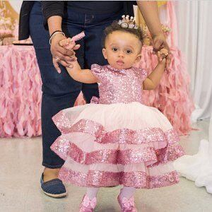 Baby Girls Pink Sequin Birthday Party Dresses Cap Sleeve Girls Pageant Dresses Children Girls First Communication Dress Custom