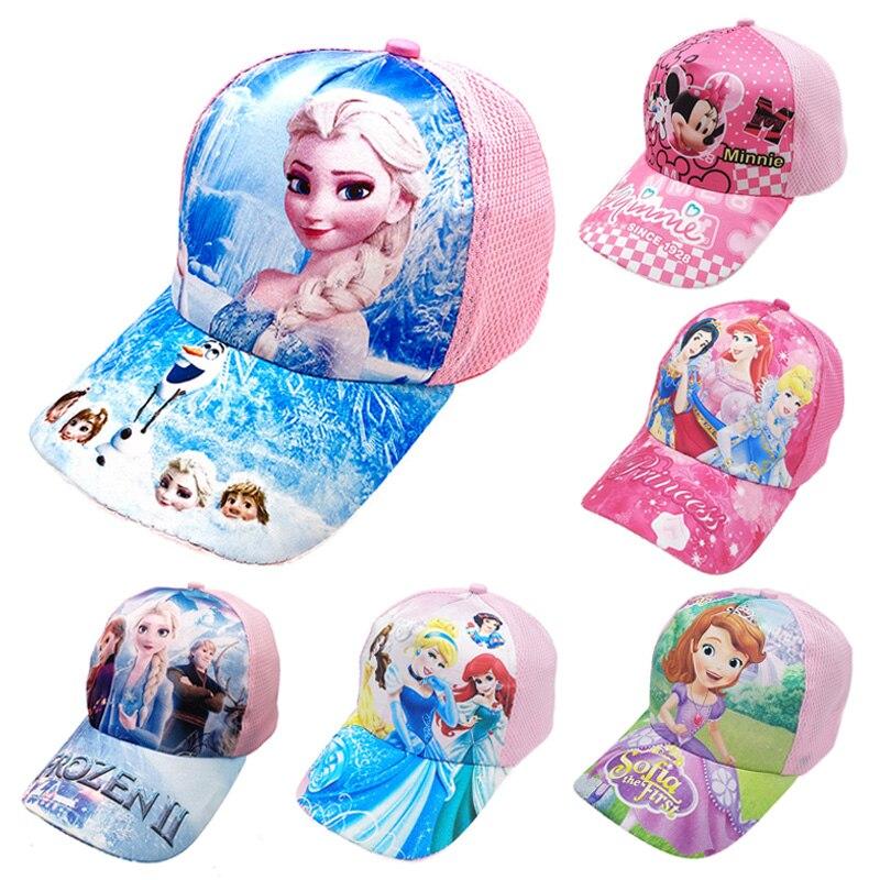 Disney Gefrorene Hut Prinzessin Minnie Sophia Cartoon kinder Kappe Im Freien Sport Baseball Kappe Mädchen Hut Geburtstag Geschenk für Kinder