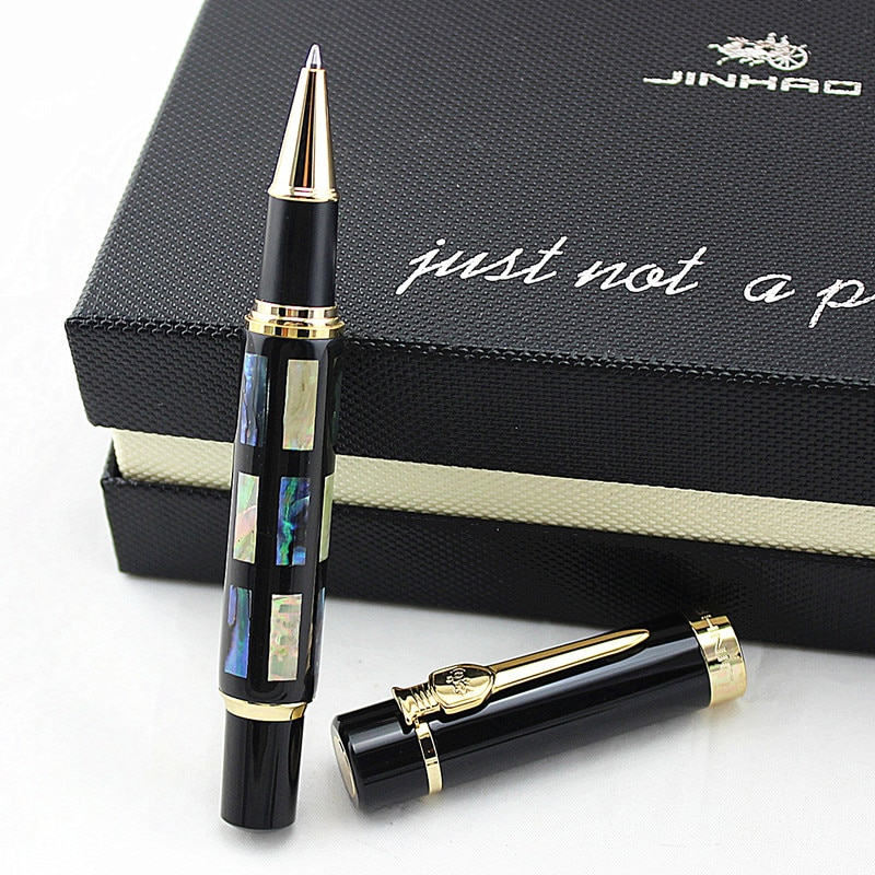2pcs jinhao chinese two dragons playing with the pearl antique silver heavy advanced rollerball pen andfountain pen j1190 Jinhao Big Size Rollerball Pen with Refill, Bright Pearl Green Sea Shell Writing Gift Pen Business Office Home School Supplies