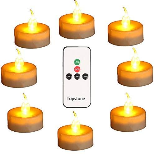 Светодиодные Чайные свечи Topstone с дистанционным управлением и таймером, теплые желтые беспламенные Свечи, чайный светильник большой емкост...