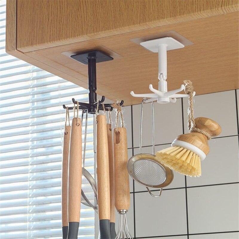 Бытовые кухонные крючки с поворотом на 360 градусов, самоклеящиеся зеркальные крючки, стеллаж для хранения, кухонные принадлежности