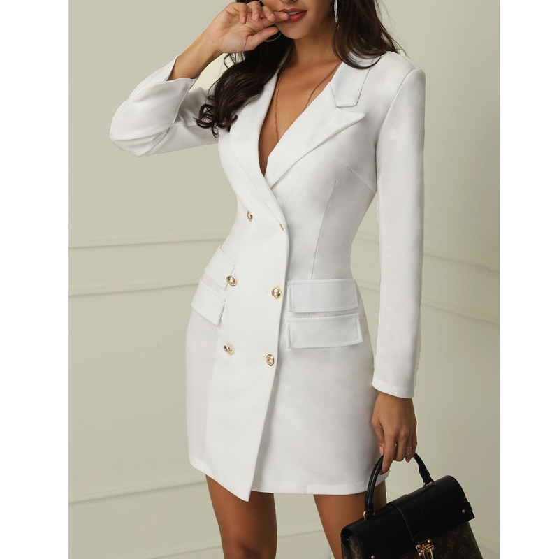 Vestido feminino formal de manga longa, mini vestido slim para mulheres, blazer social, 1 peça