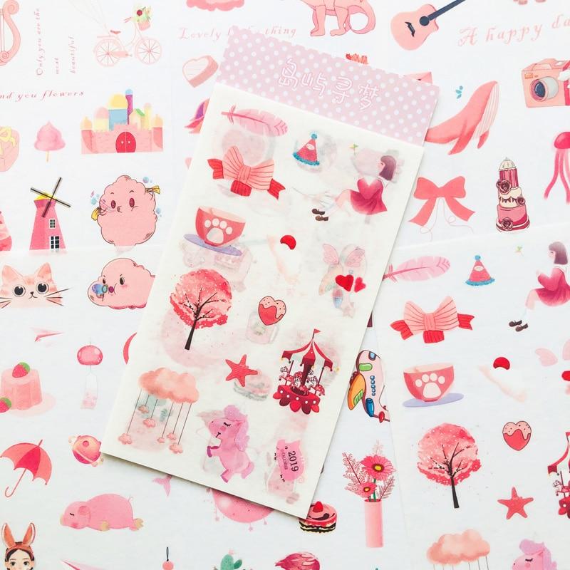 Adesivo dos desenhos animados da menina rosa, 6 folhas/pacote, papel de desenho animado, etiqueta artesanal, notebook, computador, telefone, decoração diy