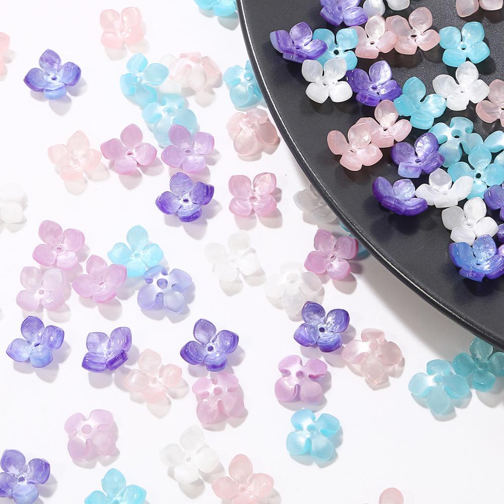 10 Uds. Acetato acrílico 14mm Flor de cuatro pétalos forma separador topes para cuentas para hacer joyas horquilla pulsera Accesorios