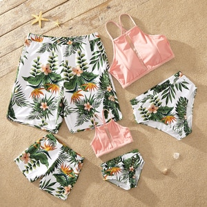 PatPat 2021 New Arrival Summer Leaf Print Family Matching Swimsuits