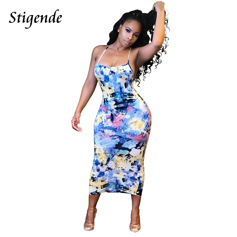 Stigende verão sem mangas impressão midi vestido feminino sexy bodycon spagetti strap vestido de pele de cobra leopardo graffiti sem costas vestido